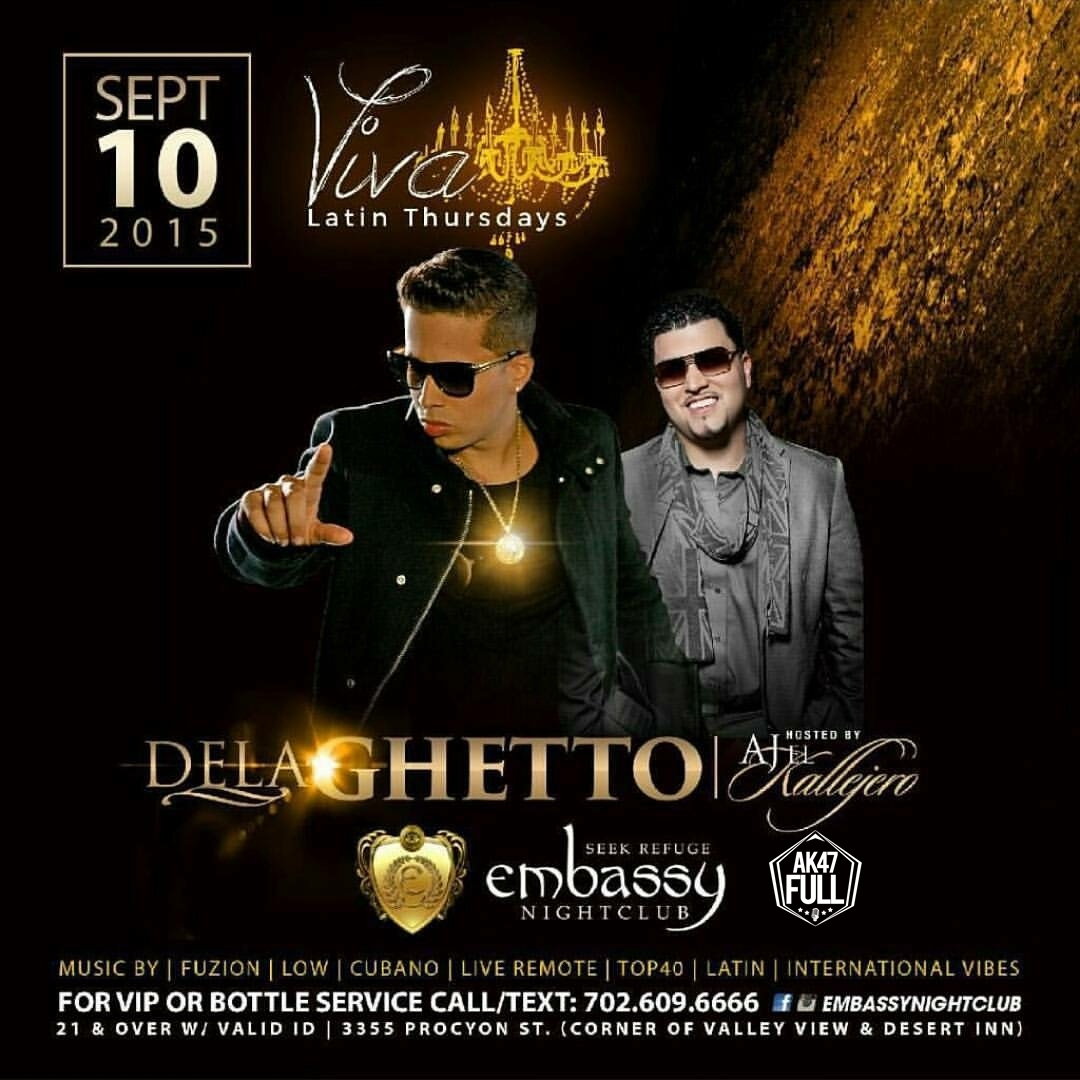 De La Ghetto Embassy Nightclub Las Vegas Sep. 10 Hosted by AJ El Kallejero - J Alvarez Feat Guanabanas Live @ Roxy Nightclub FL