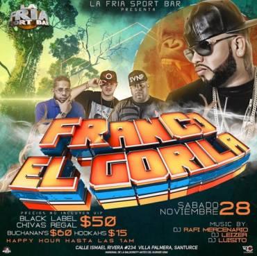 franco el gorila - Evento: Franco El Gorila – La Fria Sport Bar (28 Noviembre, 2015)