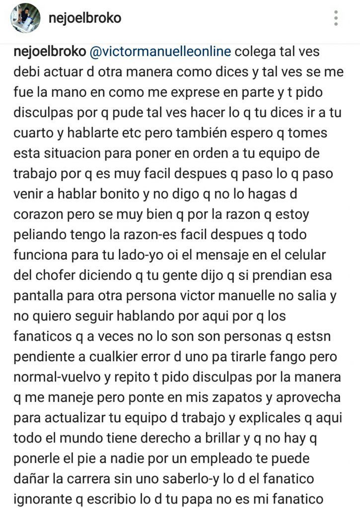 disculpa nejo 725x1024 - Ñejo se disculpa con Víctor Manuelle tras escandalo