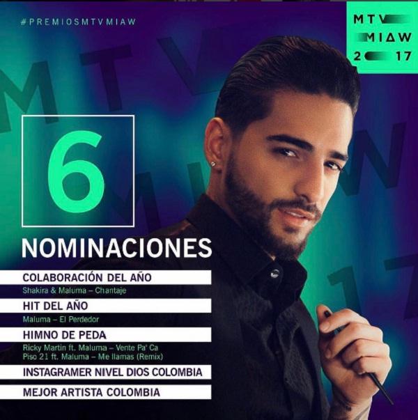 Maluma con 6 nominaciones a Los Premios MTV - Maluma Con 6 Nominaciones A Los Premios MTV